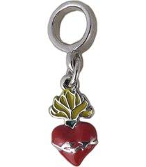 berloque papillô joias sagrado coração resinado, ródio branco prata