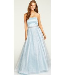 say yes to the prom juniors' glitter-overlay gown