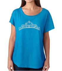 la pop art women's dolman cut word art shirt - princess tiara