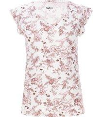 camiseta cuello v con arandela color beige, talla 10
