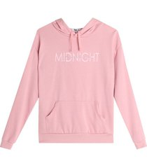 buzo hoodie mid night color rosado, talla l