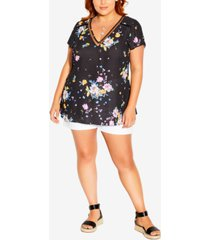 city chic trendy plus size summer rose v-neck top