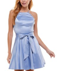 city studios juniors' lace-back belted party dress
