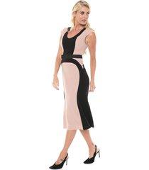 vestido lança perfume midi pedraria rosa/preto