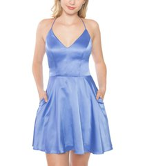 b darlin juniors' lace-back satin skater dress