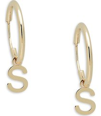 saks fifth avenue made in italy women's 14k yellow gold s-charm huggie earrings