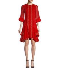 lace sheer-sleeve mini dress