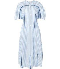 lee mathews tengo striped seersucker dress - blue
