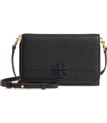 women's tory burch mcgraw leather crossbody wallet -
