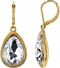 2028 gold-tone crystal faceted teardrop earrings
