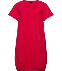 dress plus short sleeves cotton round neck dresses everyday dresses röd zizzi