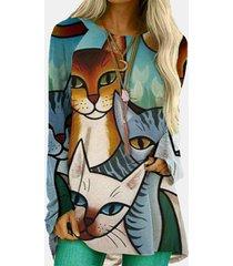 camicetta allentata a maniche lunghe con scollo a o con stampa gatto dei cartoni animati