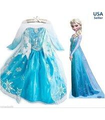 frozen princess elsa dress cosplay party dress up + free crown wand braid set
