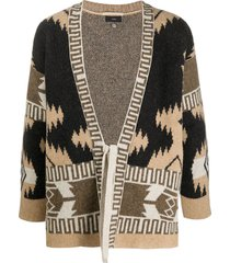 alanui wool patterned cardigan kimono with front tie - brown