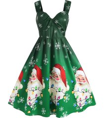 plus size christmas santa claus snowflake a line retro dress