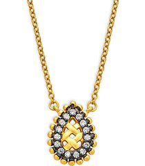sterling silver & cubic zirconia lattice small teardrop pendant necklace