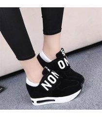 zapatos tenis casual plataforma mujer -negro