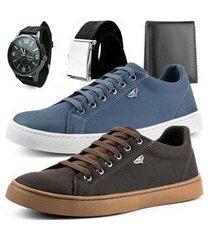 kit 2 pares de sapatênis dhl masculino chumbo e marrom + relógio + cinto e carteira