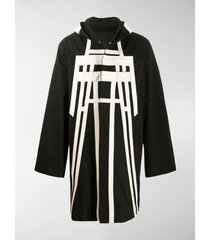 rick owens contrast tape hooded coat