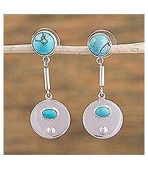 turquoise dangle earrings, 'moon pools' (mexico)