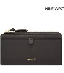 cartera nine west  ring leader slim zip organizer- negro