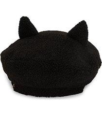 faux shearling ear beret