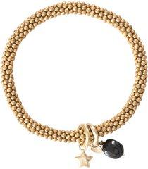 armband a beautiful story jacky black onyx star gold plated bracelet