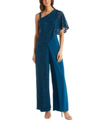 r & m richards one-shoulder lace jumpsuit
