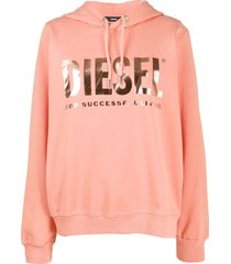 diesel metallic logo print hoodie - orange