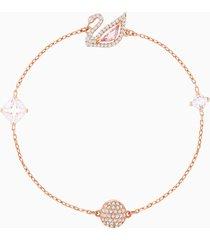 braccialetto dazzling swan, multicolore, placcato oro rosa
