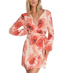 billabong floral-print ruffled wrap dress