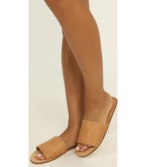 showpo verali - dolla slides in camel softee - 10 sale shoes
