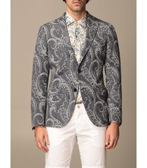 etro blazer etro jacket in paisley patterned cotton and wool jersey
