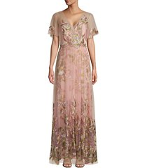 flutter-sleeve embroidered tulle gown