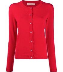 twin-set cardigan slim de tricô - vermelho
