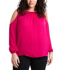 1.state trendy plus size cold-shoulder top