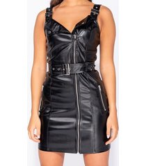 korte jurk parisian leather look biker style bodycon mini dress