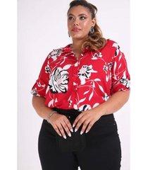 camisa kauê plus size estampa floral feminina