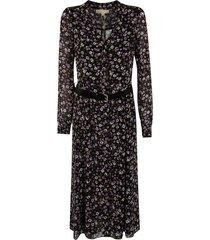 michael kors floral print long belted dress