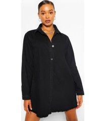 oversized spijkerblouse jurk met gerafelde zoom, zwart