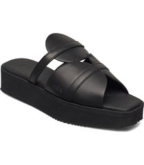 189g high black leather black outsole shoes summer shoes flat sandals svart gram
