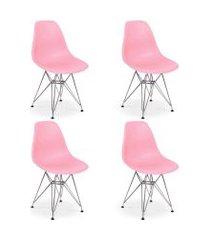 conjunto 04 cadeiras charles eames eiffel base metal design - rosa