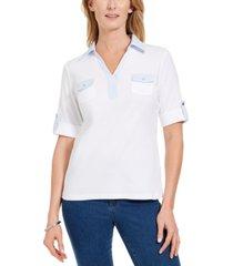 karen scott petite cotton contrast-trim johnny-collar top, created for macy's