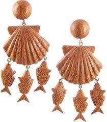 delphine wood chram drop earrings