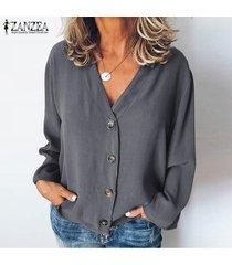zanzea mujeres botones cuello en v camisa de las tapas ocasionales de las señoras de la blusa tops flojos llanura sólido más -gris