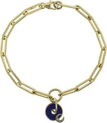 blue crescent charm fob clip bracelet