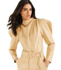 culpos x inc faux-leather exaggerated-sleeve bodysuit, created for macy's