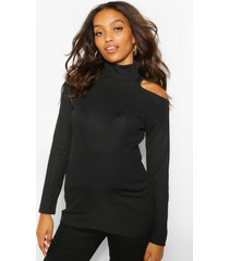 maternity cold shoulder rib roll neck top, black