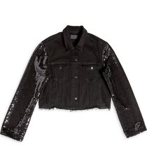 rta women's haylee sequin-sleeve cropped denim jacket - max black - size s