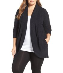 plus size women's barefoot dreams cozychic lite circle cardigan, size 2x - black